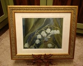 Lily of the Valley Signed Print in an 11x14 Decorative Gold Frame