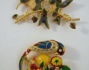 Bird Brooches Humming Bird and Parrot pins