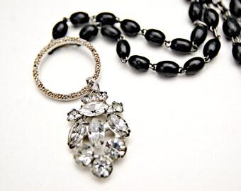 Black Rosary Necklace/ Rhinestone Assemblage Necklace/ Rosary Bead Necklace/ Religious Jewelry/ Vintage Rhinestone Jewelry/ French Rosary