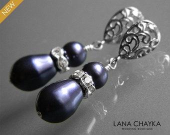 Dark Purple Pearl Earrings Swarovski Pearls Silver Earrings Eggplant Silver Wedding Earrings Purple Pearl Wedding Jewelry
