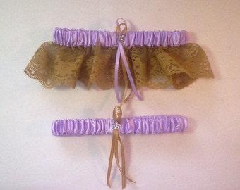 Lavender Satin / Gold Lace   - 2 Piece Wedding Garter Set - 1 To Keep / 1 To Throw