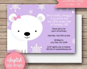 Polar Bear First Birthday Party Invitation, Polar Bear 1st Birthday Party Invite, Printable First Birthday Party Invite Lavendar and Gray