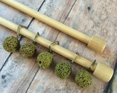 Stitch Markers Natural Green Lava Rocks - Set of 5 for Square Knitting Needles