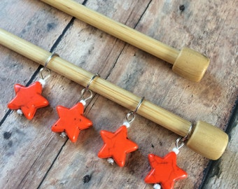 Knitting Stitch Markers - Orange Stone Stars - set of 4 for your project bag
