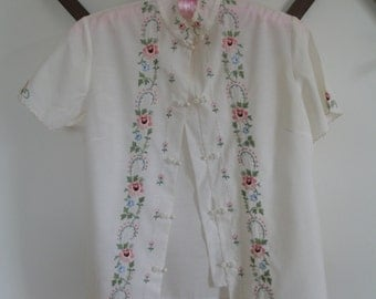 1950's Asian Blouse, Shirt, Embroidered Flowers