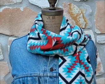 Southwestern Ladies Fleece Scarf, Turquoise and Red Fleece Scarf, XL Fleece Scarf, Southwest Fleece Scarf