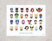 ABC Block Superfufu Art Print 16 x 20 // Kids Wall Art Nursery Children Room Decor Superhero Baby A to Z