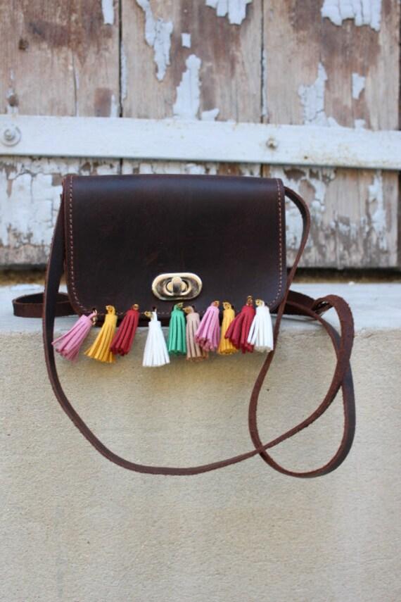 SALE! Leather clutch, Crossbody bag, Leather purse, Small Leather bag, Camel Clutch, Leather tassel