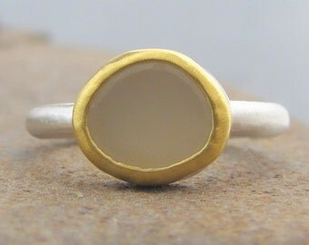 White Moonstone Ring - 24 k Gold & Silver Ring - 22k Gold Moonstone Ring - Moonstone Gold Ring