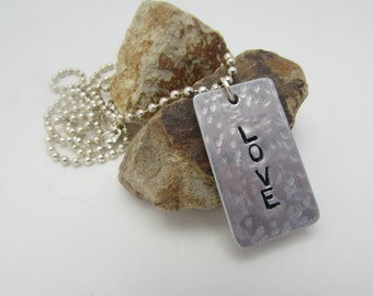 Love Hand Stamped Necklace, Peace,Harmony, Love Necklace,
