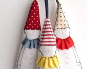 Hanging fabric  Ornament  -gift tags Set of 3 eco decor dwarf  in pointy hat , Dressed in shades of red blue yellow , Timo handmade doll