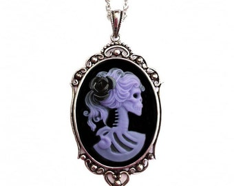 Purple Skeleton Cameo Necklace