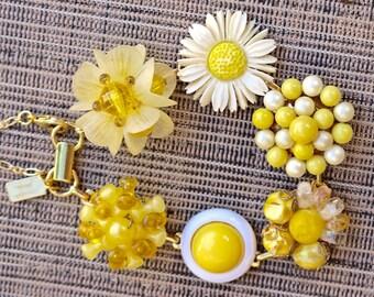 Upcycled Vintage Earring Bracelet, Bridesmaid Gift, Boho, Reclaimed, Under 40, Yellow, Gold, Marigold, Jennifer Jones, 1940s Gift Set, OOAK