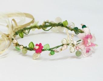 Fairy wedding crown, bohemian bridal headpiece, boho flower crown, pink bridal hairpiece, boho bridal headpiece, floral bridal headband