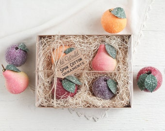 Spun Cotton Fruit Ornaments - Handmade Victorian Style Christmas Decorations, 4 Piece Boxed Set