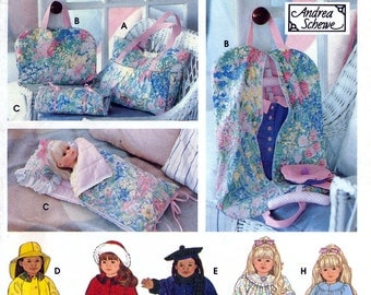 """Simplicity 9833 Craft Sewing Pattern by Andrea Schewe Clothes, Tote, Doll Sized Garment and Sleeping Bag for 18"""" American Girl Doll - Uncut"""