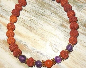 Amethyst Carnelian Rudraksha Bead Yoga Bracelet