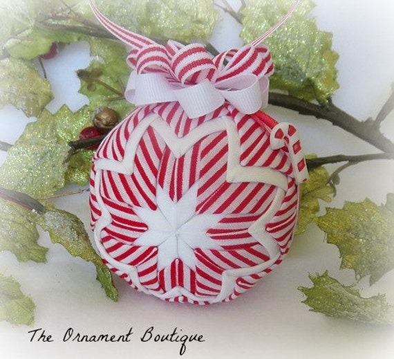 Quilted Christmas Ornament candy cane ornament decoration Peppermint red white