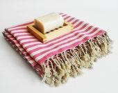 SALE 50% OFF Turkish BATH Towel Peshtemal - Pink - Bath, Beach, Spa, Swim, Pool Towels