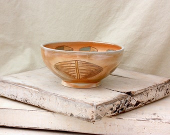 Ceramic Wood Soda fired Bowl with Pod Carvings, 1