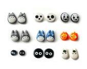 Polymer Clay Totoro and Friends Earrings - Chu Totoro / Chibi Totoro / Calcifer / Soots / Kodama / No-face - Made to Order