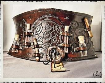 Leather corset / cincher / large belt - Alchemist / Steampunk