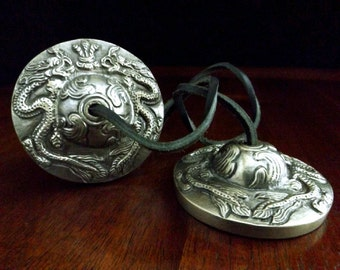 Dragon Tibetan Cymbals - Tingshas, Meditation tool, Buddhism, Spirituality