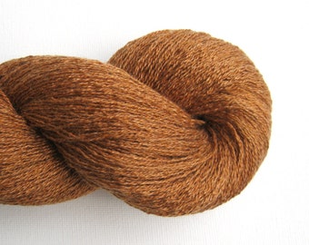 Lace Weight Silk Cashmere Recycled Yarn, Caramel Brown, 840 yards, Lot 010316