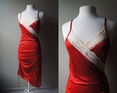 Vintage Red Valentine Lingere Slinky Red Tango Asymmetric Night Gown Negligee