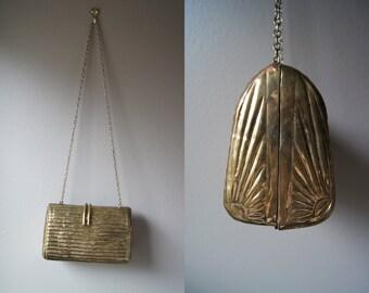 Vintage Solid Metal Gold Purse Metal Purse Case Purse Gatsby Evening Bag Gold Bag Gold Evening Bag Handmade Bag Art Bag
