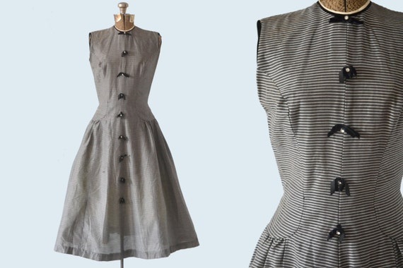 1950s Grey Striped Cocktail Dress w/Rhinestones