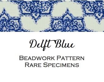 Delft Blue Peyote Stitch Beadwork Pattern - Cuff Bracelet - Bookmark