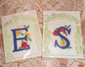 Vintage Embroider' Ons Embroidery Iron-On Patch Letter E and S