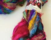Recycled sari silk ribbon, Unique eyelash edging, Amazing texture, 5 yards, Pure iredescent silk sari ribbon.