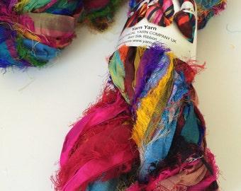 Recycled sari silk ribbon, Unique eyelash edging, Amazing texture, 100g, Pure iredescent silk sari ribbon.