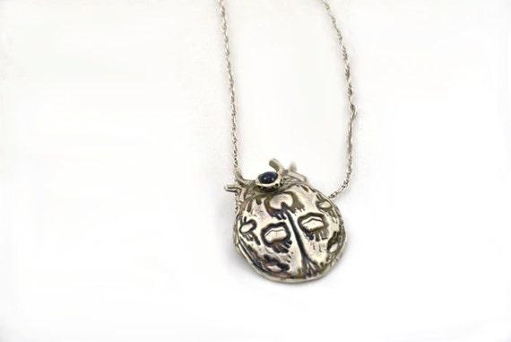 Silver Bug Pendant - Lady Bug Pendant - Silver Necklace -Blue CZ Gemstone