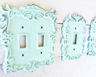 Metal wall decor light switch cover in white shabby 52 colors light switch cover light switch plate single light switch cover sciox Image collections