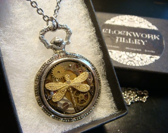Clockwork Dragonfly Steampunk Pocket Watch Pendant Necklace -Made with Real Watch Parts (1990)