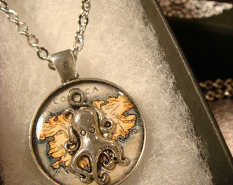 The Traveling Octopus Small  - Silver Octopus over Vintage Map  Pendant Necklace (2083)