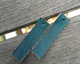 Leather Earrings - Teal Wood Grain Pattern - Ready to Ship