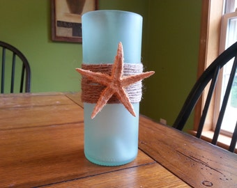 Recycled Wine Bottle Glass Candle - Starfish Theme