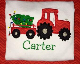 Custom Boys Toddler Christmas Tractor carrying Tree Applique shirt