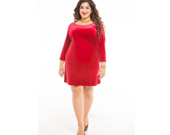 Velvet A-line Dress Customizable Dress Length, Sleeve, and Neckline Shape Sizes 2-28