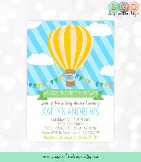 Hot air balloon baby shower invitation baby boy blue yellow il570xn filmwisefo