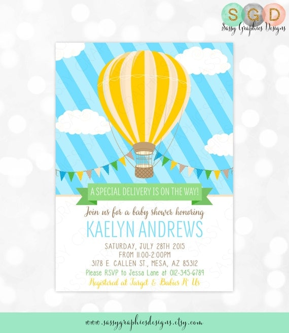 Hot Air Balloon Baby Shower Invitation  Baby Boy Blue Yellow Charming