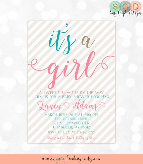 Baby shower invitation baby girl pink teal gray stripes girl il570xn filmwisefo