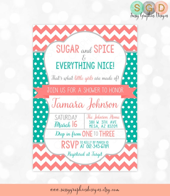 Sugar And Spice Baby Shower: Sugar And Spice Baby Shower Invitation Baby Girl Coral Teal