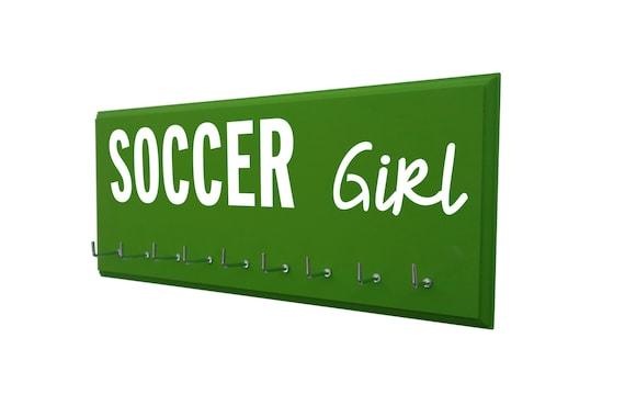 soccer medals holder, gift for soccer player, soccer coach, soccer team, soccer gifts, awards holder, trophy display, ribbons hanger