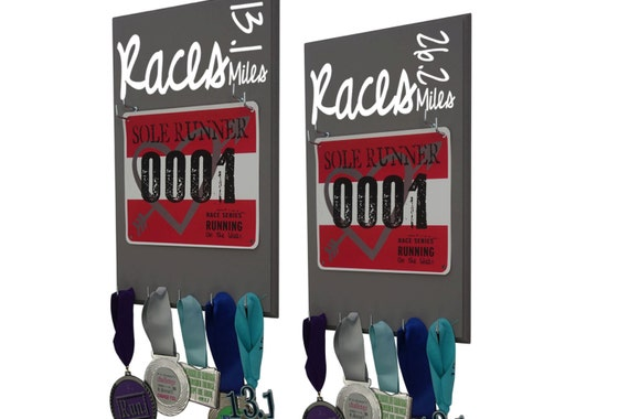Running RACES bibs and medals: Running races 13.1 and 26.2 set