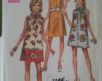 Simplicity 8793 Sewing Pattern 1960's Muu-Muu or Dress in Two Lengths Size 8-10